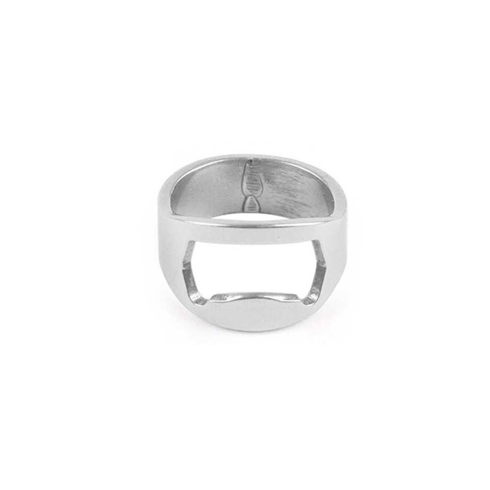 Stainless Steel Bottle Cap Opener Ring -Silver