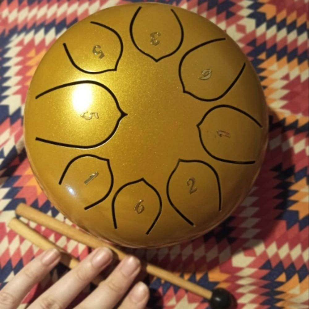 8-Tune Steel Tongue Drum & Hang Drum - Bright Gold