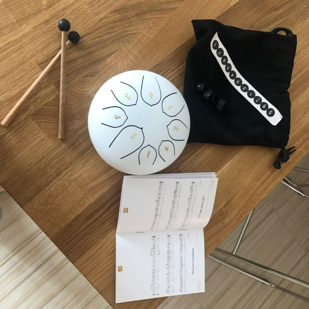 8-tune steel tongue drum & hang drum-frosted white