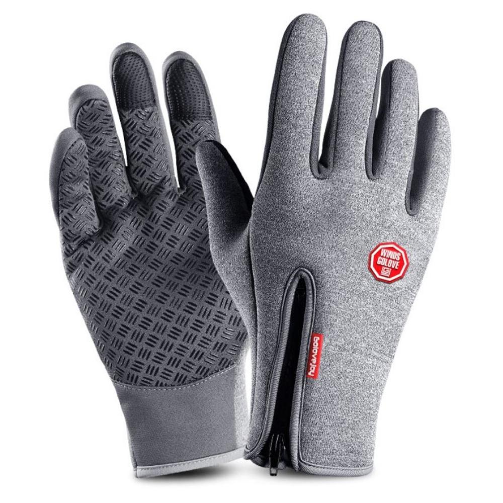 Unisex Waterproof Touch Screen Winter Gloves-Gray-L