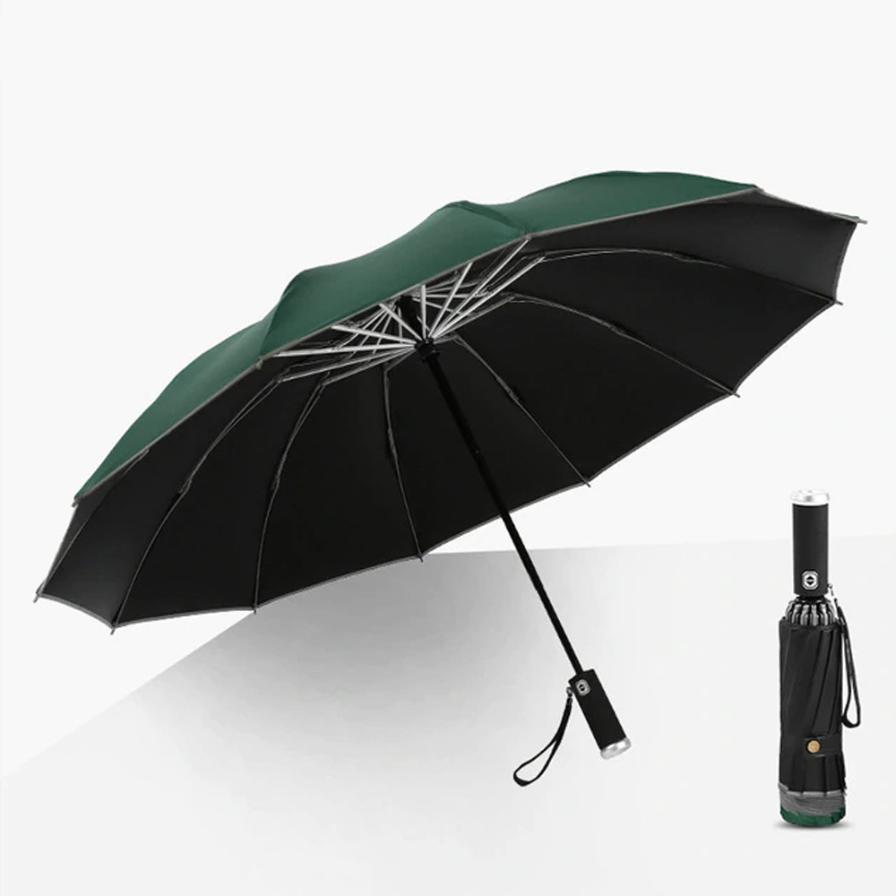 Windproof Led Inverted Umbrella With Reflective Stripe & Reverse Folding-Green